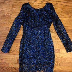 Boohoo Brand metallic royal blue lacy dress